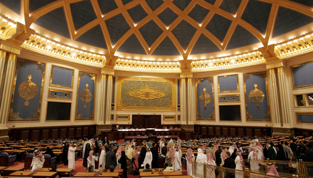Journalists is being shown the auditorium of the Saudi Arabia's  Shura Council headquarters in Riyadh